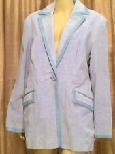 """Blue Suede Women's Blazer Plus Size 1X by Terry Lewis """"Classic Luxuries"""" NWT"""