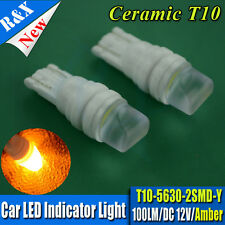2xAmber T10 5W wedge globe 2 SMD LED Car Light Bulbs perfect for side indicators