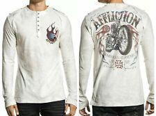 AFFLICTION Men's T-shirt Pullover Fire L/S Henley Biker MMA