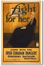 Fight For Her - Irish Canadian Rangers - New Vintage Recruitment Art POSTER
