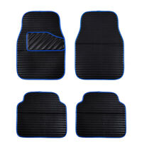 Car Floor Mat Universal Blue Side Front Rear Faux Leather 4 PC for SUV VAN SEDAN