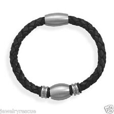 "Magnetic ~ Fits to 7"" Wrist Men's Braided Black Leather Stainless Steel Bracelet"