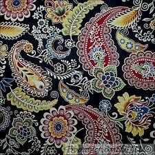BonEful Fabric Cotton Quilt VTG Black Red Paisley Flower Leaf Garden SALE SCRAP
