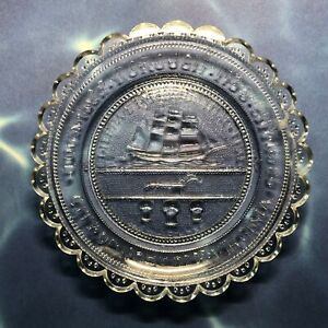 Norfolk Virginia Seal Cup Plate PairPoint Glass Chrysler Museum at Norfolk, Boxe