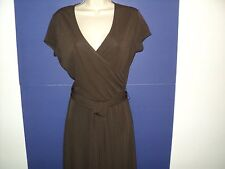 NEW Talbots Petites Small 8 Dress Brown Wrap-Look Short Sleeves Rayon/Polyester