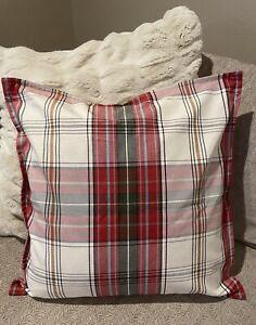"New Pottery Barn Cambridge Plaid 22"" Pillow Cover~Farmhouse Stripe Christmas"