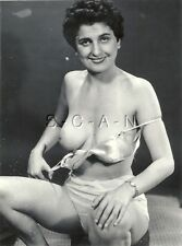 Original Vintage 1960s Nude RP- Well Endowed Mature Woman- Takes Off Silk Bra