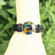 Glass Cabochon Leather Charm Bracelet Parrot Black Bangle 20 mm