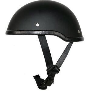 Low Profile Novelty Motorcycle Half Helmet Skull Cap Black Harley S M L XL 2XL