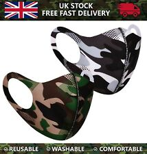 3D Face Mask Protection Mouth Cover Washable Reusable Camo Camouflage Print