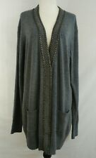 FYLO Womens Long Cardigan Size Large Gray Stud Embellished Snap Button Front