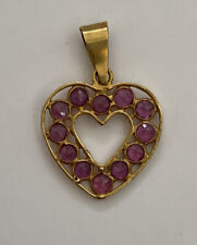 18k YELLOW GOLD RUBY HEART PENDANT CHARM