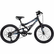 "Shocker 20"" Wheel Boys Mountain Bike Dual Full Suspension 7 Speed Black Age 7+"