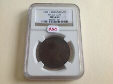 1858 Great Britain Penny Small Date AU 55 BN
