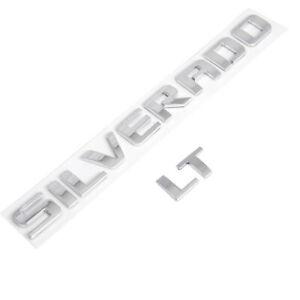 Chrome Nameplate Tailgate Rear Emblem Decal for Silverado 1500 2500HD 3500HD LT