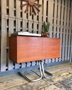 Mid Century Compact Sideboard Media Cabinet Vinyl Vintage Retro Teak Drinks