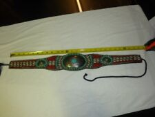 """Vintage """"Heart Made"""" Belt Turquoise Stones 27 to 35 inches in length."""