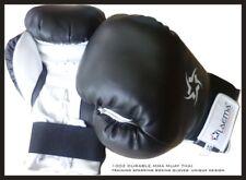 10Oz Black Prostyle Training Gym Mma Thai Kick Boxing Gloves + Free Hand Wraps
