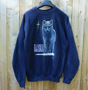 Vintage 1980s Alaska Snow Wolf Star Tourist Crewneck Sweatshirt Tultex XL L USA