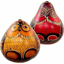 #3 Gourd Shakers Owl Maracas Rattlers Hand Carved Peru Mix Colors Andes Set of 2