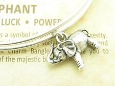 Wind and Fire Elephant 3D Charm Silver Wire Bangle Stackable Bracelet Gift
