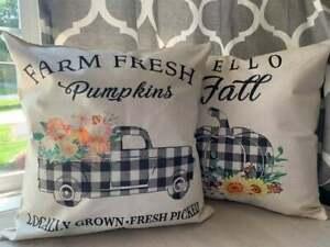 "Fall Pillow Covers 18x18"" Set of 2 Pumpkin Truck Hello Fall Buffalo Plaid Decor"