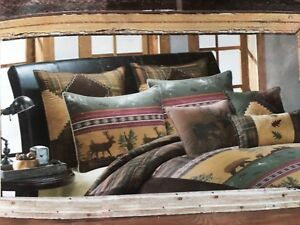 "Hidden Retreat ""Adirondack"" Rustic Deer Elk King Duvet Bedding Set"