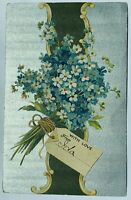 1909 Antique Floral Postcard Greetings Violets With Love Ida Posted To Lena Blue