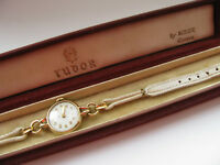 "Rolex ""Tudor"" 9ct Gold 60s Ladies Watch & 7.5"" Strap with Box Working Superb"