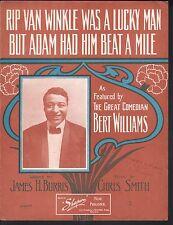 Rip Van Winkle Was A Lucky Man 1909 Bert Williams Lg Fmt Sheet Music