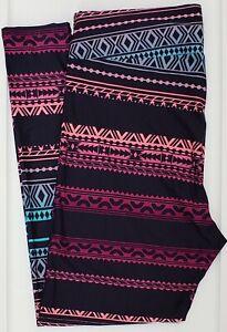 TC LuLaRoe Tall & Curvy Leggings Purple Pink Teal Navy Aztec Tribal NWT F69