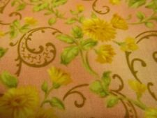 2 Yds Golden Flowers Fabric Brown Paisley Shaded Pink Background David Textiles