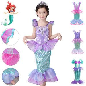 Princess Ariel Cosplay Little Mermaid Costume Girls Kids Party Fancy Dress Up