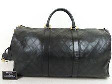 rk4617 Auth CHANEL Black Quilted Calfskin Leather CC Logo Boston Travel Handbag