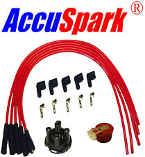 AccuSpark CTL 8mm HT Leads, Red Rotor Arm and Distributor Cap for Lucas 25D4
