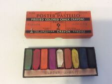Vtg American Crayon Company Poster Pastello Pressed Colored Chalk w/Box