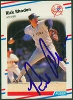 Original Autograph of Rick Rhoden of the NY Yankees on a 1988 Fleer Card