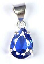 925 Sterling Silver Natural 7 Ct Pear Blue Tanzanite Pendant AGI Certified L9515