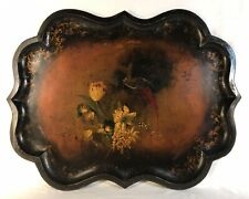 "Antique 19th C English Hand Painted Flowers & Pheasant Tole Tray 33"" x 25"""