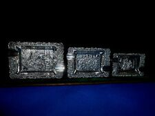 Set of 3 ashtrays in silver metal