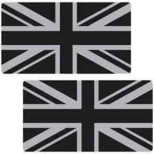 Bandera Británica Negro Plata Grande 300mm LAMINADO ADHESIVOS PARA COCHE