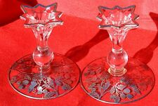 Vintage Pair Candlestick Holders Glass Sterling Silver Inlay National Silver Co.