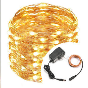 100/200 LED String Operated Copper String Wire Fairy Lights Party Decor + Plug