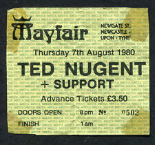 1980 Ted Nugent concert ticket stub Mayfair Newcastle UK Scream Dream Tour