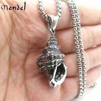 MENDEL Mens Stainless Steel Beach Surfing Seashell Sea Shell Pendant Necklace