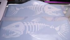"""(2) Skeleton Fish Large Vinyl Decals for  Boat  -  Fishing 18x50"""" WHITE Special"""