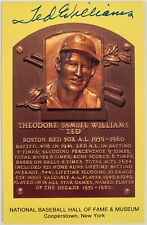 Ted Williams Autographed National Baseball Hall Of Fame Bronze Plaque Postcard