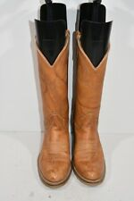 VINTAGE TEXAS 7 D BROWN LEATHER ROUND TOE CLASSIC FASHION WESTERN COWBOY BOOTS