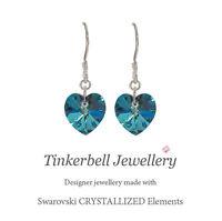 925 Sterling Silver Drop Earrings Swarovski Elements Bermuda Blue Crystal Heart