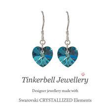 925 argento Sterling orecchini a goccia Swarovski Elements BERMUDA BLUE cuore cristallo